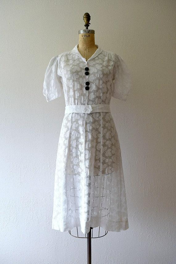1930s white filet lace dress . vintage 30s dress - image 2