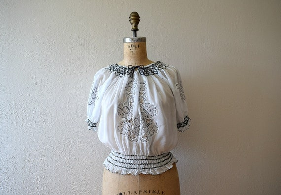 1940s rayon embroidered top . vintage 40s 50s blou
