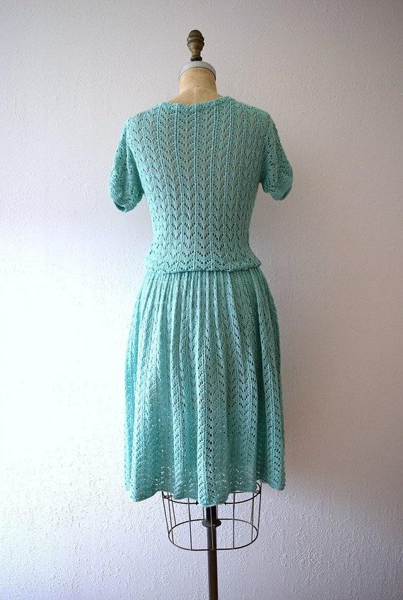 1940s knit dress . vintage green knit dress - image 3
