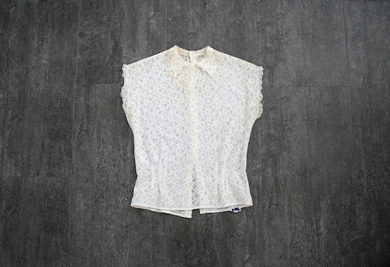 1940s lace blouse . vintage 40s lace top