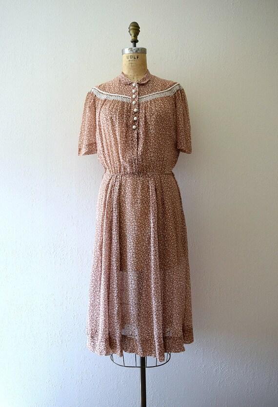 Early 1940s dress . vintage 40s brown floral dress - image 3