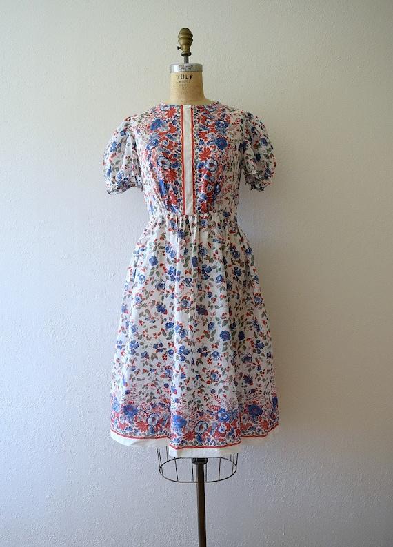 Late 1930s border print dress . vintage 30s puff … - image 2