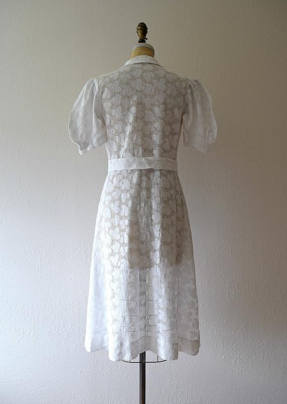 1930s white filet lace dress . vintage 30s dress - image 4