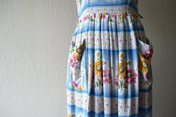 1950s dress . vintage 40s striped floral dress - image 4