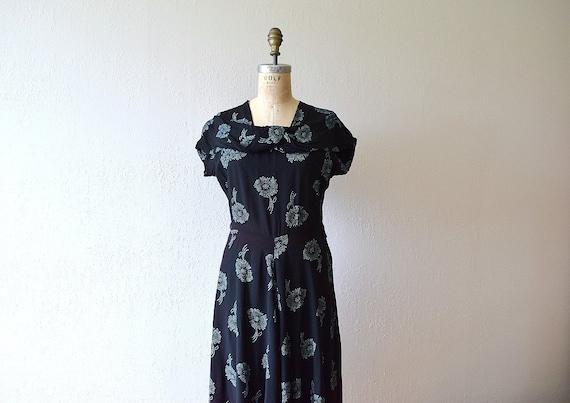 1940s rayon dress . vintage 40s floral print dress