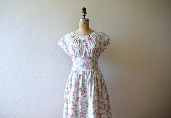 1940s cherry print dress . vintage 40s novelty pr… - image 1