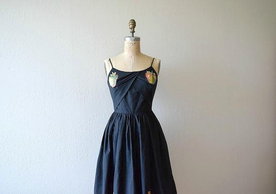Vintage 1950s sundress . black apple appliqués dre
