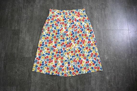 1930s 1940s skirt . vintage 30s 40s floral skirt
