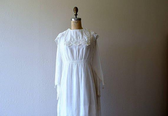 Antique cotton dress . vintage white 1910s dress - image 2