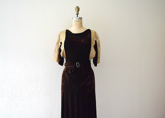 1930s velvet gown . vintage 30s bias cut dress