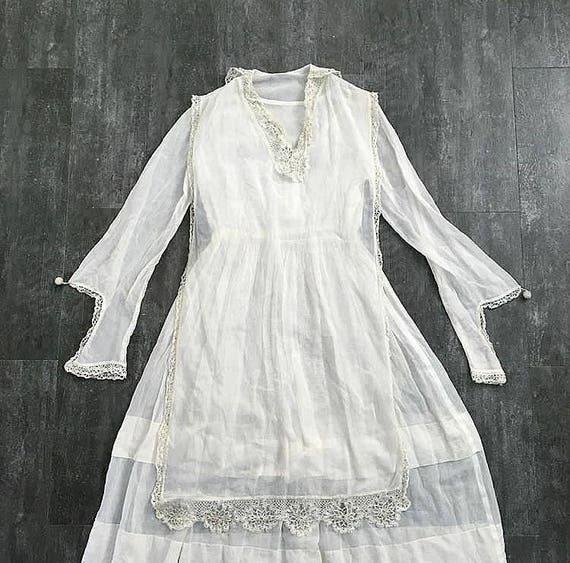 Antique cotton dress . vintage white 1910s dress - image 5