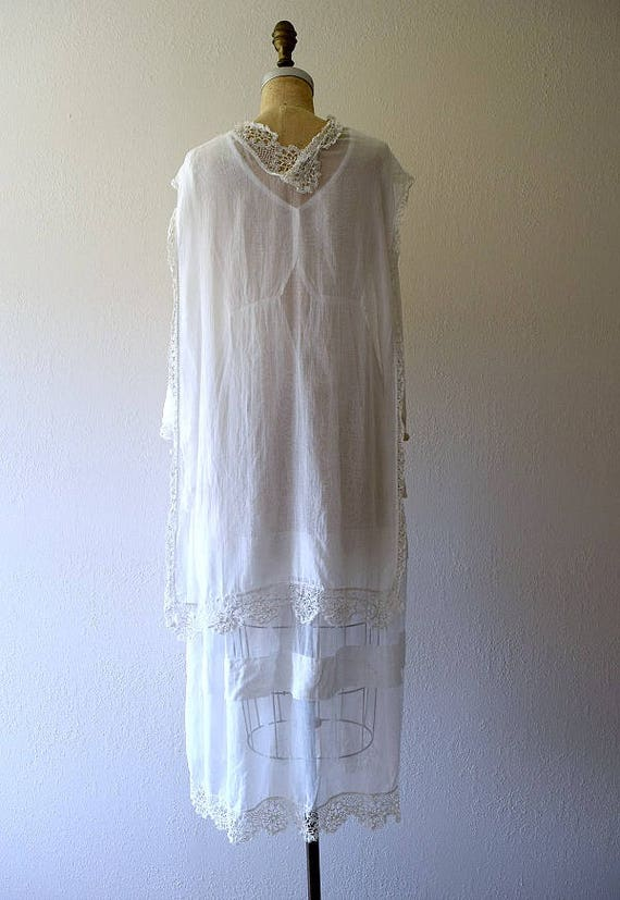 Antique cotton dress . vintage white 1910s dress - image 4