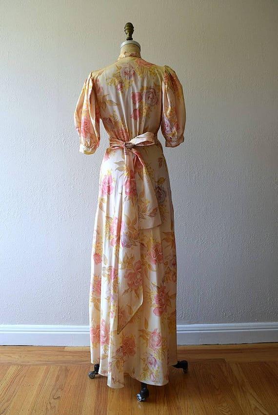 1930s dressing gown . vintage 30s rose print dress - image 3