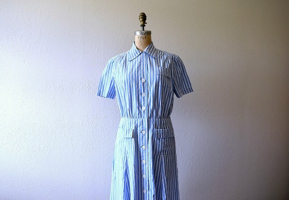 1940s sportswear dress . vintage 30s 40s blue stri