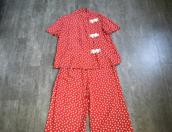 1940s rayon pajamas . vintage 40s polka dot pajama