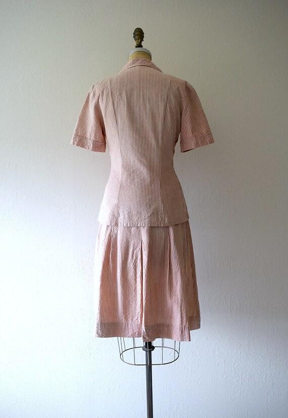 1940s seersucker suit . vintage 40s dress set - image 3