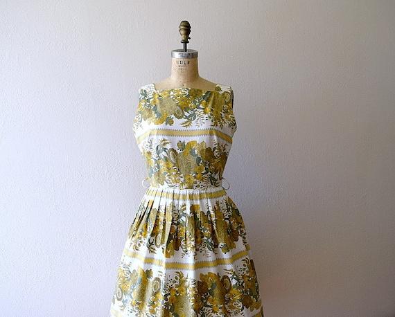 Vintage 1950s dress . 50s striped floral sundress