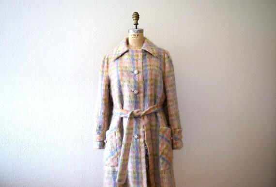 1960s mohair coat . vintage 60s pastel plaid jacke