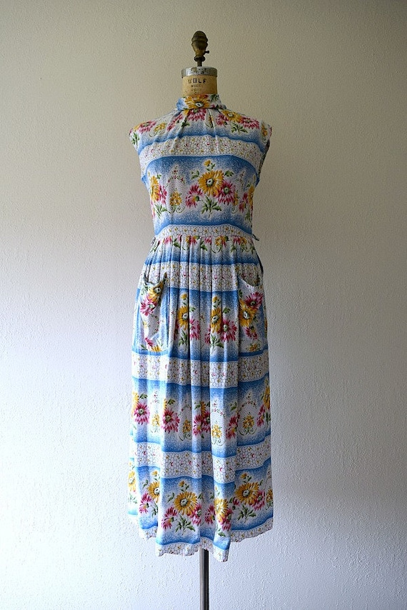 1950s dress . vintage 40s striped floral dress - image 3