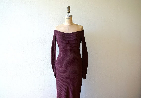 1930s knit gown . vintage 30s purple rayon knit dr