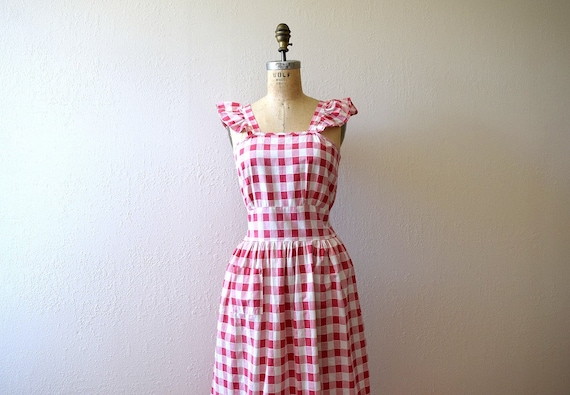 1940s gingham dress . vintage 40s pinafore style d