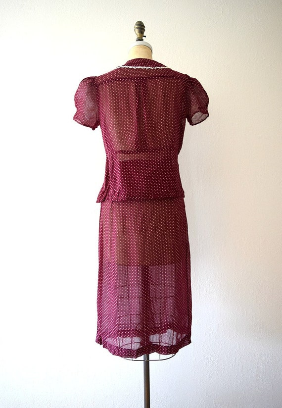 1930s dress set . vintage 30s puffed sleeve dress - image 4