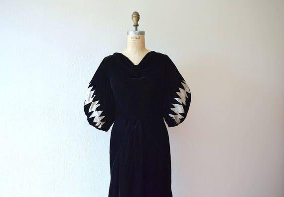 1930s velvet dress . vintage 30s lame sleeve dress