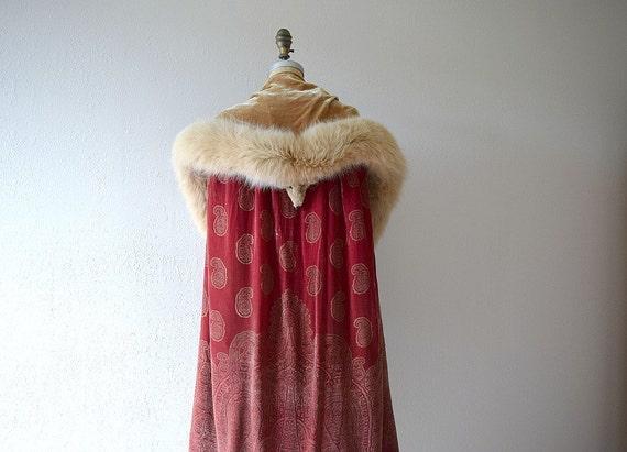 1920s silk velvet cape . vintage 20s stenciled vel