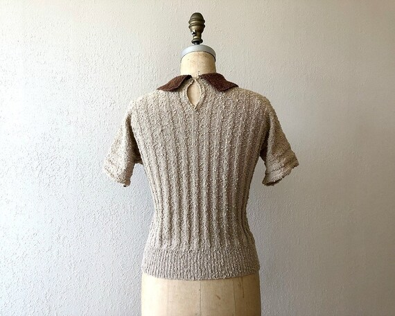 1940s knit top . vintage 40s wool knit sweater - image 3