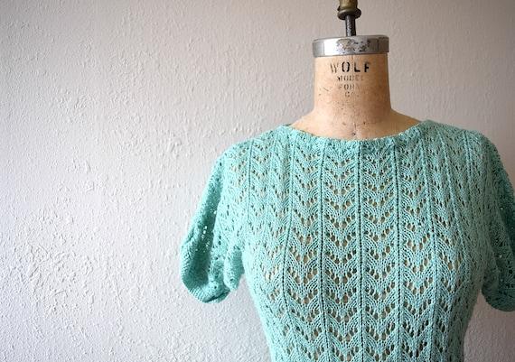1940s knit dress . vintage green knit dress - image 4