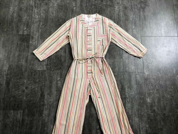 1930s striped playsuit . vintage 30s pajamas
