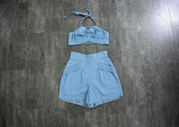 1940s Koret playsuit . vintage blue denim playsuit