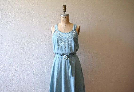 1940s sundress . vintage 40s cotton dress