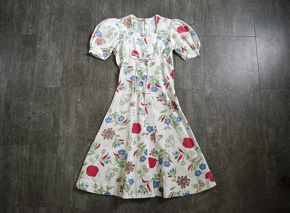 1930s 1940s dress . vintage puff sleeves dress
