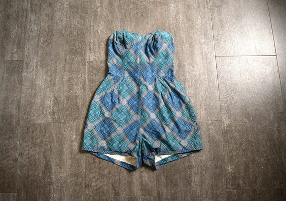 1950s plaid playsuit . vintage 50s cotton beachwea