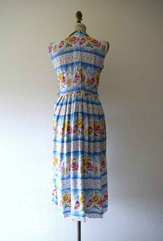 1950s dress . vintage 40s striped floral dress - image 2