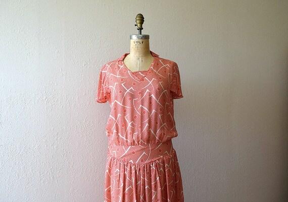 1930s dress . vintage 30s Art Deco print dress