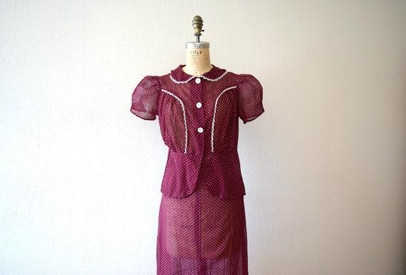 1930s dress set . vintage 30s puffed sleeve dress