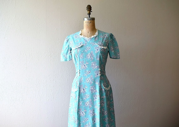 1930s 1940s dress . vintage mint green floral dres