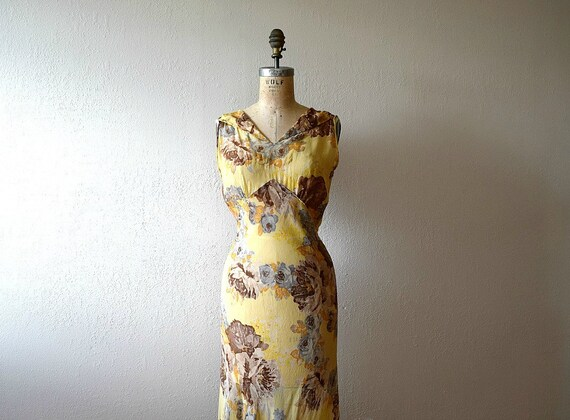 1930s floral chiffon dress . vintage 30s gown
