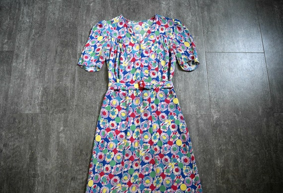 1930s rayon dress . vintage late 30s floral print