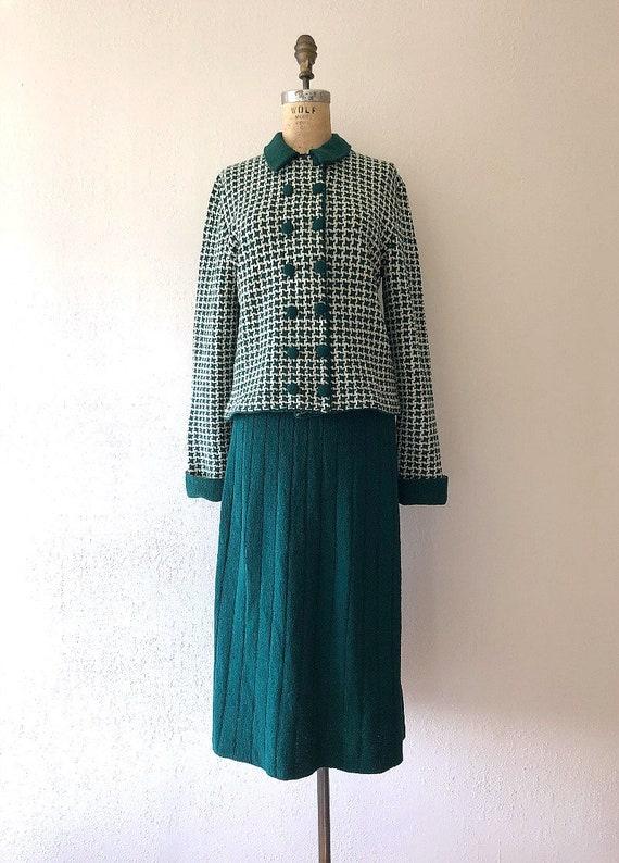 1940s knit set . vintage 40s green knit dress - image 2