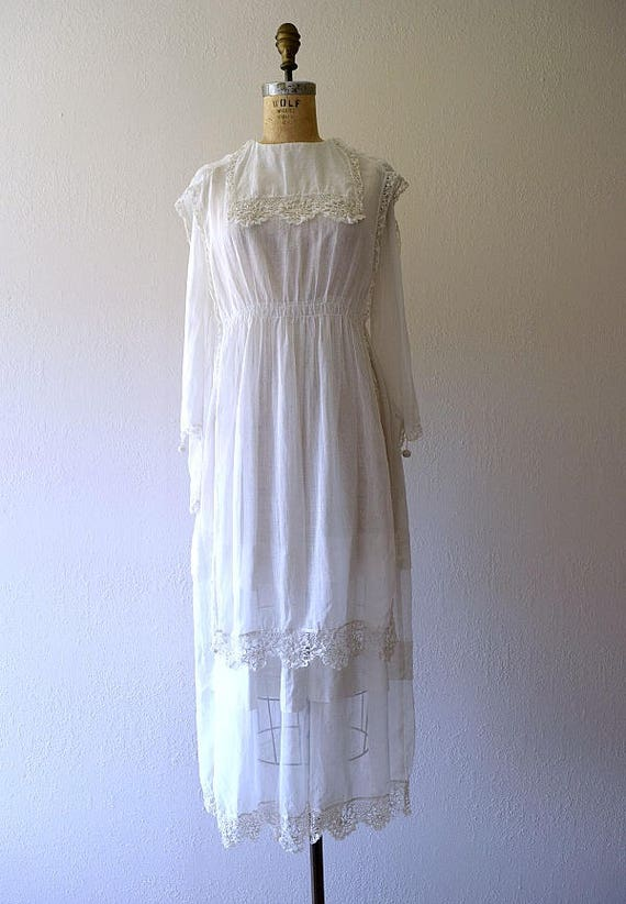 Antique cotton dress . vintage white 1910s dress - image 3