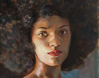 Queen, original oil painting of African American woman with an afro, one of a kind oil painting on stretched canvas, beautiful woman