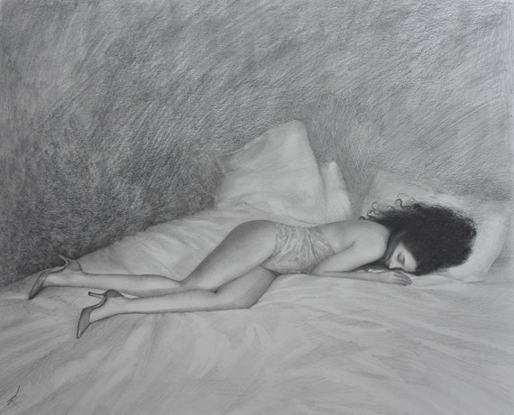 Daydream Detailed Romantic Pencil Drawing Of Woman Dreaming Etsy
