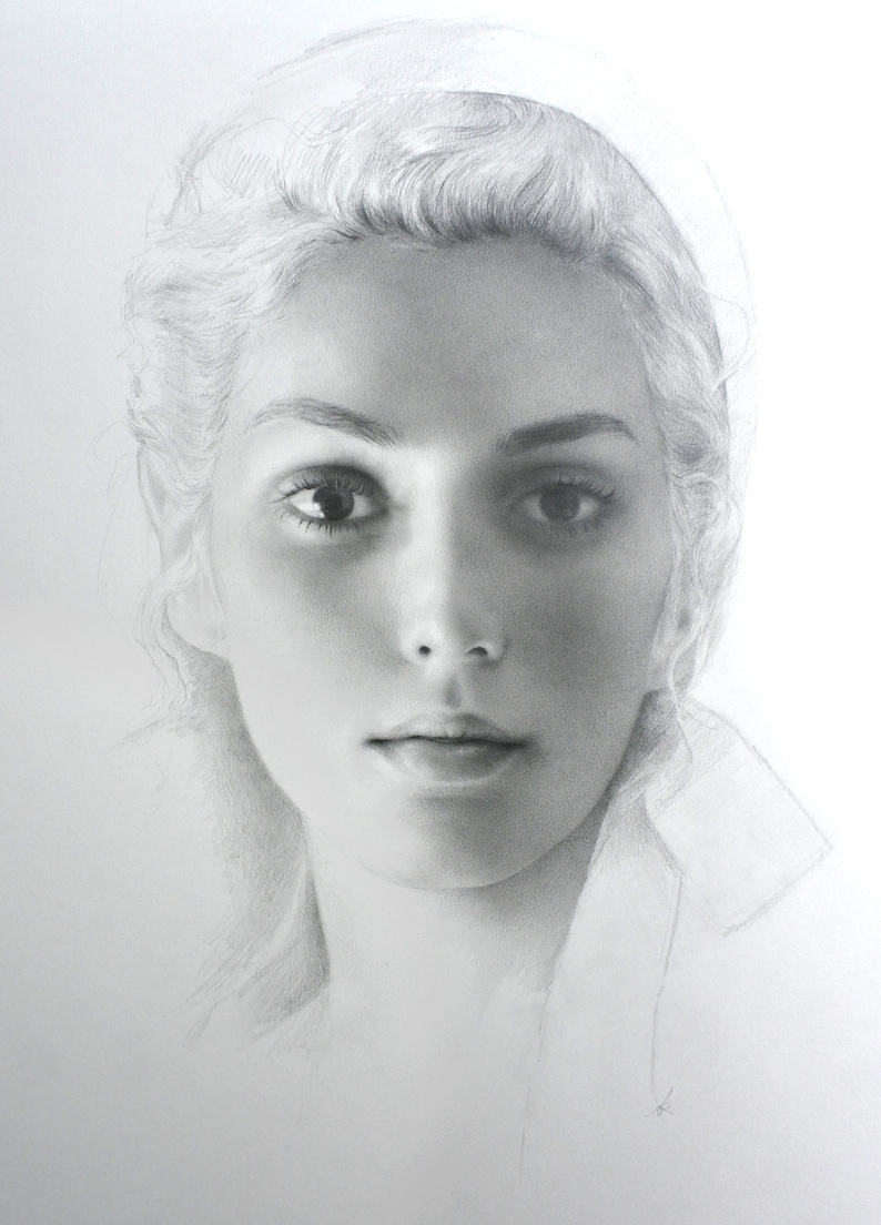 Stephanie very detailed graphite pencil drawing on paper of a beautiful woman in a headscarf original drawing portrait realism fine art