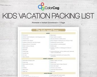 Kids Vacation Packing List Printable PDF Light Brown