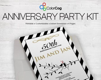 Anniversary Party Kit - Editable & Printable Package PDF
