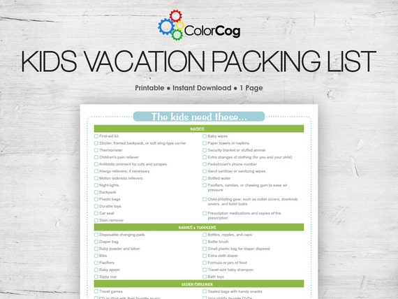 Kids Vacation Packing List Printable Pdf Green And Blue Etsy