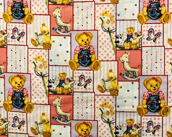 Daisy Kingdom Blue Jean Teddy Bear Blossum & Friends  - By the Yard - Vintage Reproduction - Out of Print